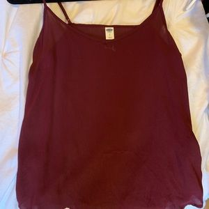 Burgundy silky tank top